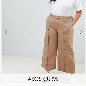Brown Wide Leg Pants w/ Buttons